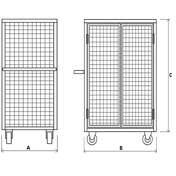 Шкаф сетчатый с металлическим дном шсм—склад52.